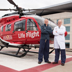 Drs. Stephens and Eaton in front of Life flight